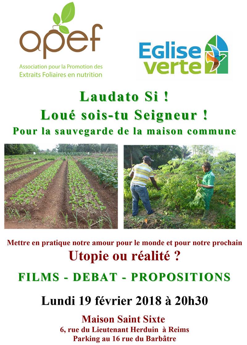 Laudato Si: utopie ou réalité? Soirée à Reims (51) le 19 février 2018