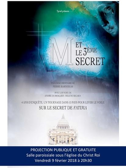 """Projection publique du film """"M et le 3ème secret"""" à Toulouse (31) le 9 février 2018"""