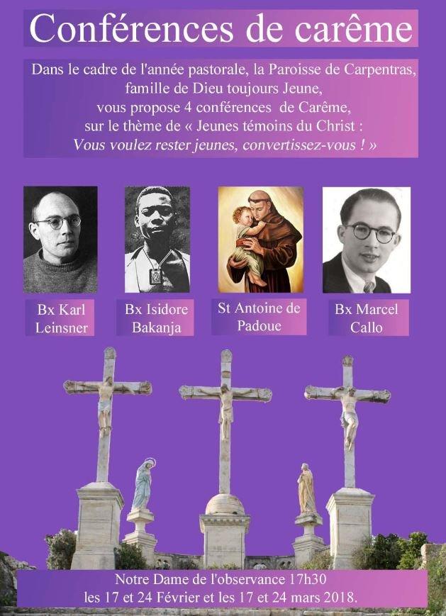 Conférences de carême 2018 – Carpentras (84) les 17, 24 février et 17 et 24 mars 2018