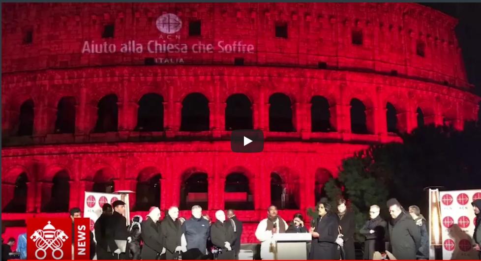 """Vidéo – Le Colisée """"rouge martyr"""" – En retournant à Dieu nous pouvons être des artisans de paix"""