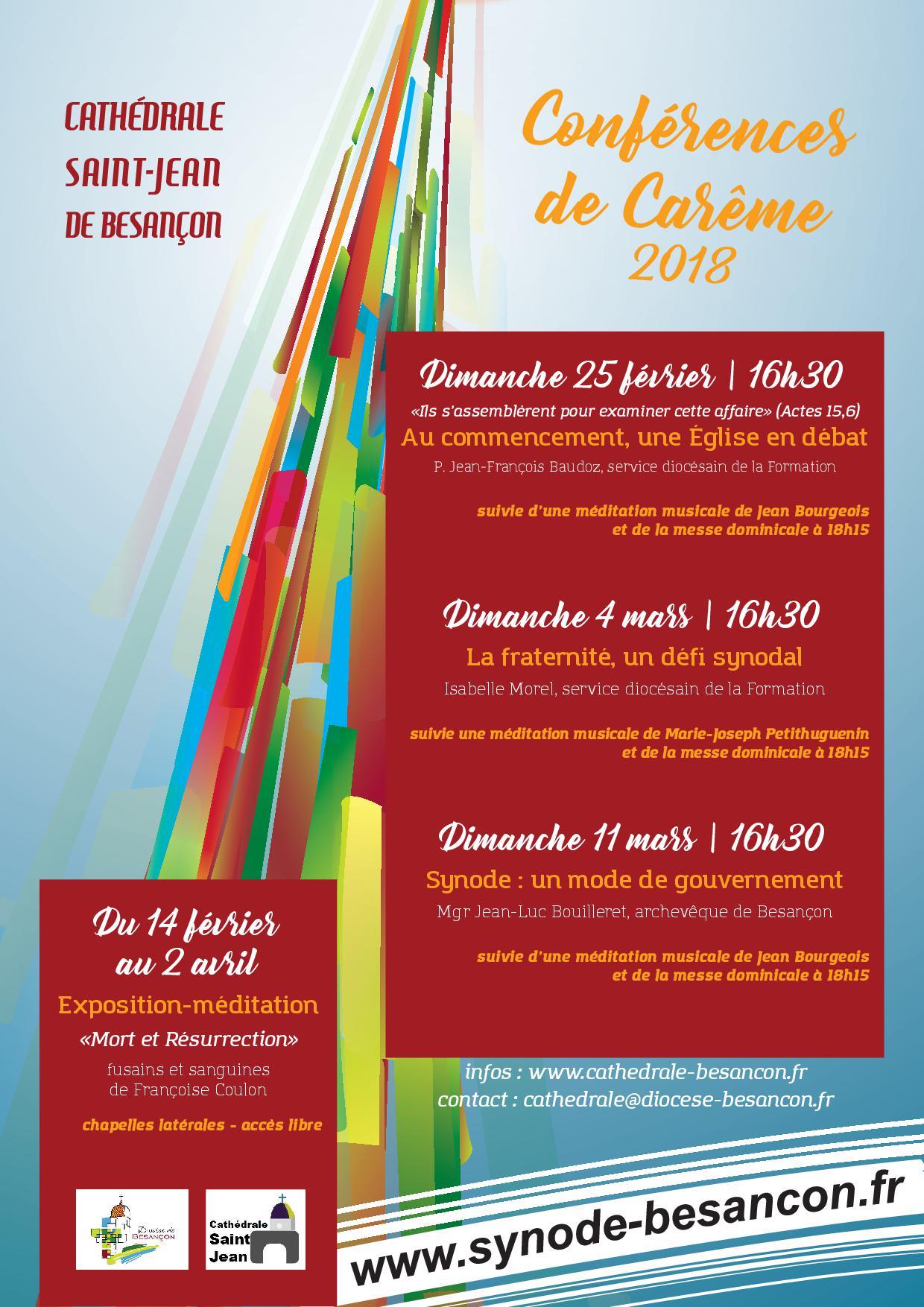 Conférences de carême à Besançon (25) les 25 février, 4 et 11 mars 2018
