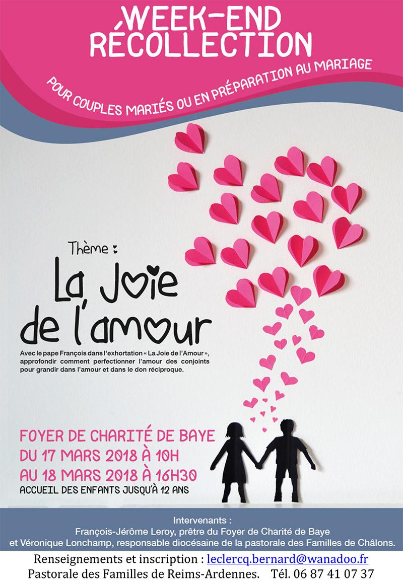 Couples: week-end «récollection» à Baye (51) les 17 et 18 mars 2018