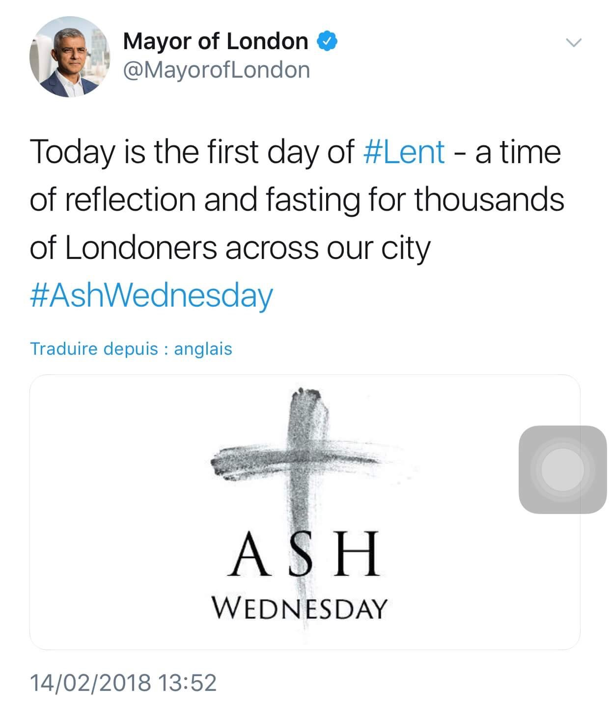 Le maire de Londres salue le mercredi des Cendres
