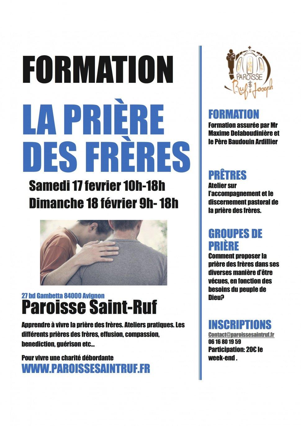 Formation à la prière des frères les 17 et 18 février 2018 à Avignon (84)