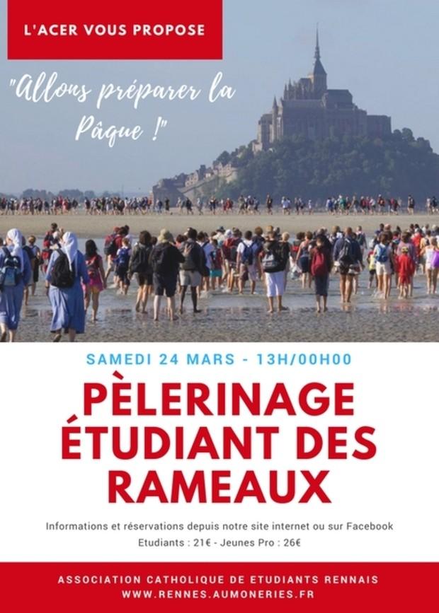 Pèlerinage étudiant des Rameaux au Mont Saint-Michel, départ de Rennes (35) le 24 mars 2018