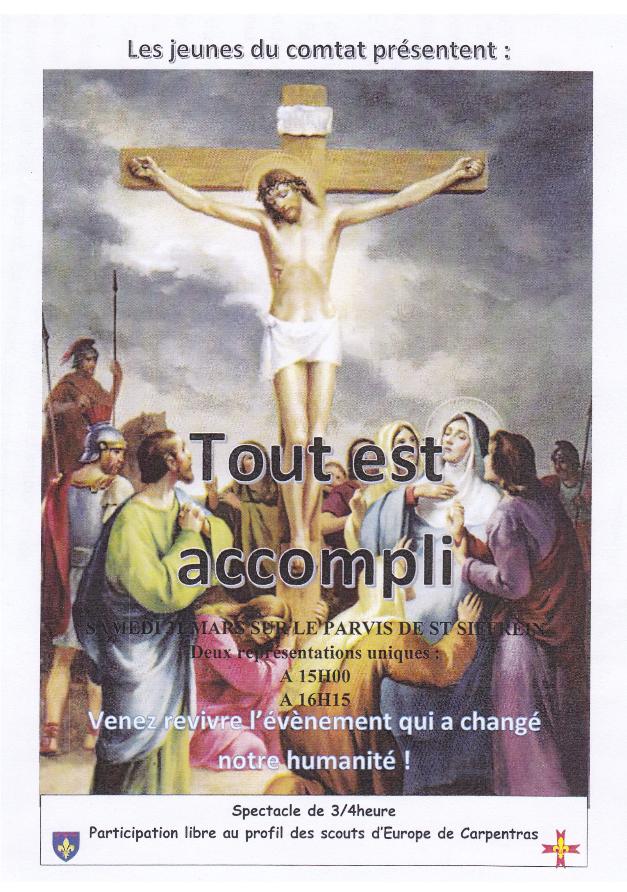 Spectacle – «Tout est accompli» à Carpentras (84) le 31 mars 2018