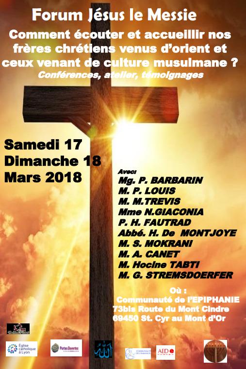 Prochain forum Jésus le Messie à Lyon (69) les 17 et 18 mars 2018