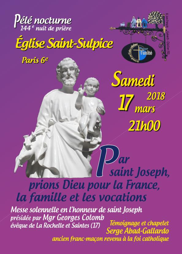 Pèlerinage nocturne en l'église saint Sulpice à Paris – nuit du 17 mars 2018