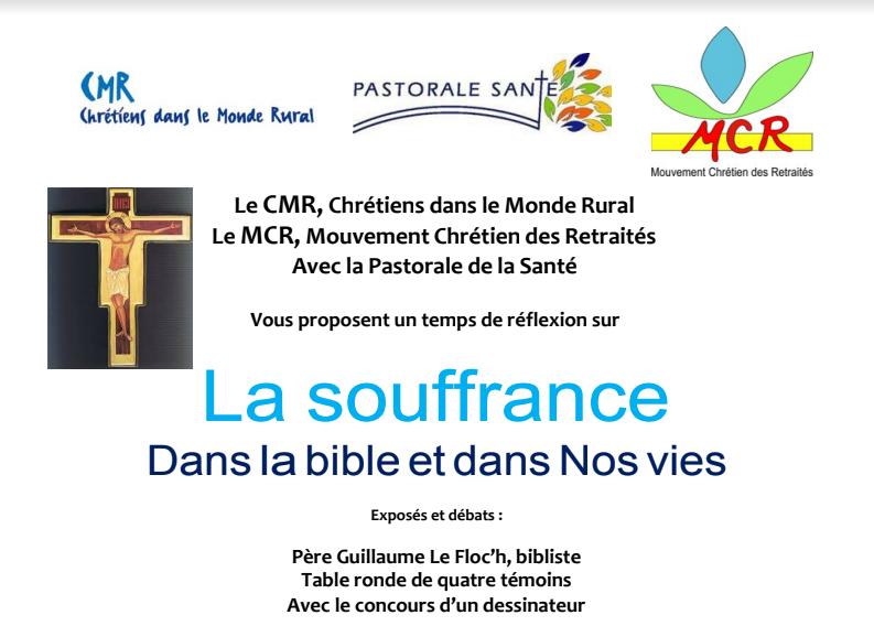 12, 13, 19 et 20 avril 2018: quatre journées au choix «La souffrance dans la Bible et dans nos vies» – diocèse de Nantes (44)