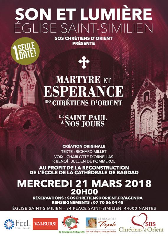 21 mars 2018: Son et Lumière «Martyre et Espérance des Chrétiens d'Orient» en l'église Saint-Similien de Nantes (44)
