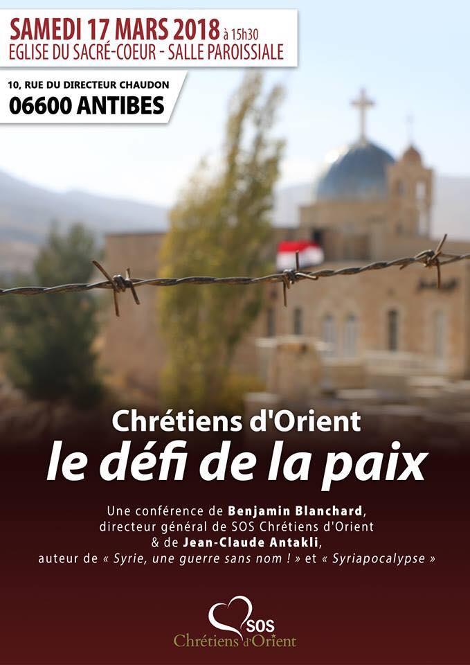 """Antibes – Conférence """"Chrétiens d'Orient – Le défi de la paix"""""""
