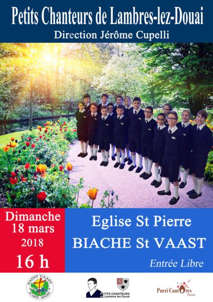 Concert des Petits Chanteurs de Lambres-lez-Douai à Biache-Saint-Vaast (62) le 18 mars 2018