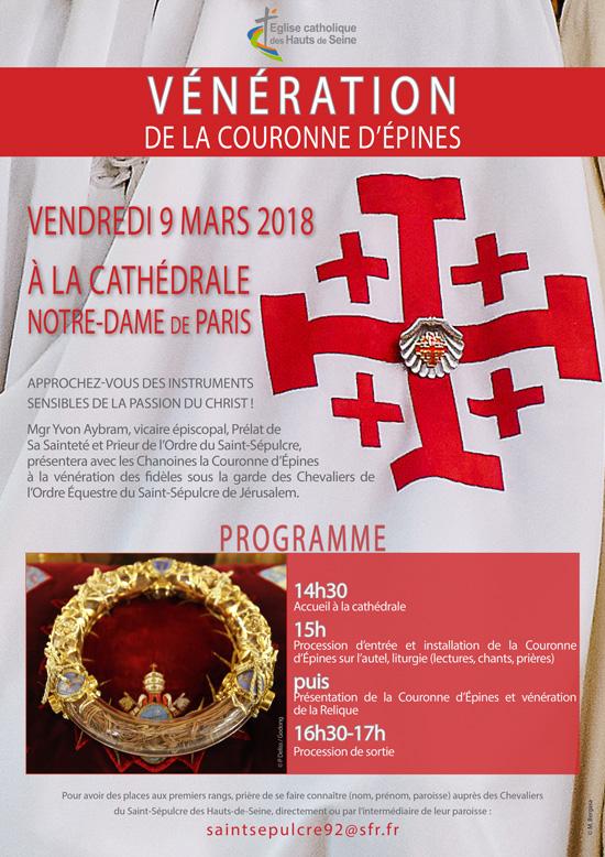 Vénération de la Couronne d'épines à Paris le 9 mars 2018