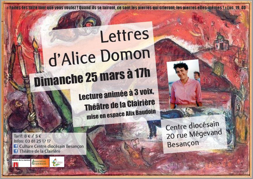 """Lecture à troix voix """"Lettres d'Alice Domon"""" par le Théâtre de la Clairière à Besançon (25) le 25 mars 2018"""
