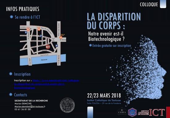 """Colloque international: """"La disparition du corps: notre avenir est-il biotechnologique?"""" les 22 et 23 mars 2018 à Toulouse (31)"""