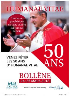 Venez fêter les 50 ans d'Humanae Vitae à l'Evangile de la Vie à Bollène (84) les 24 et 25 mars 2018