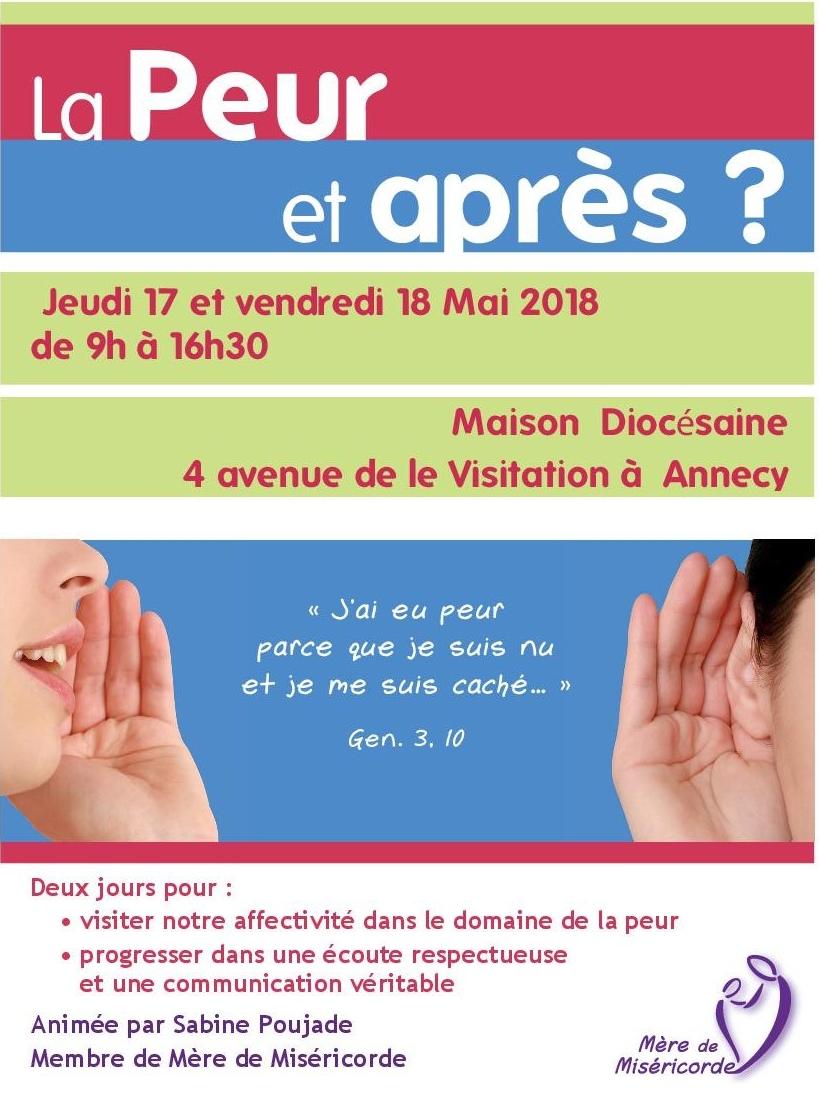 """Formation à l'écoute: """"La peur et après?"""" les 17 et 18 mai 2018 à Annecy (74)"""