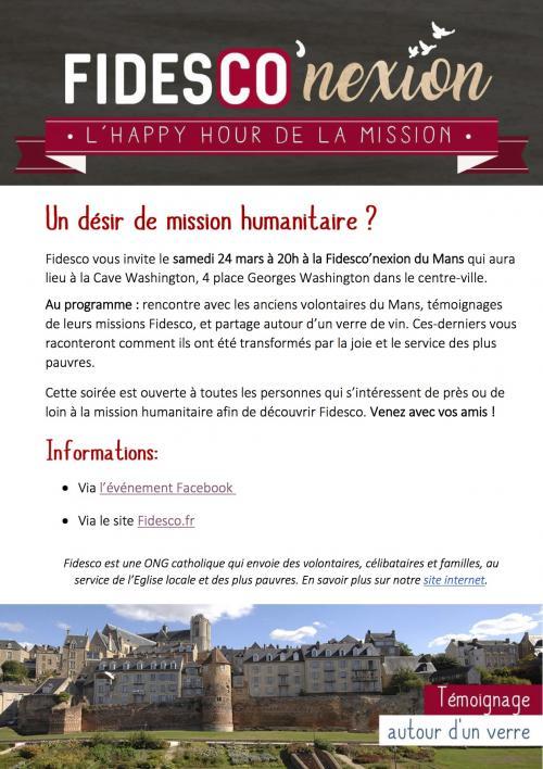 Soirée Fidesco – L'happy hour de la mission – au Mans (72): samedi 24 mars 2018