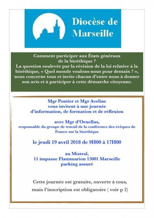 Journée sur la bioéthique avec Mgr d'Ornellas à Marseille (13) le 19 avril 2018