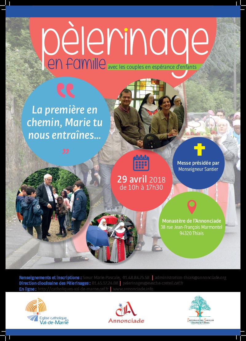Pèlerinage en famille avec les couples en espérance d'enfants le 29 avril 2018 à Thiais (94)