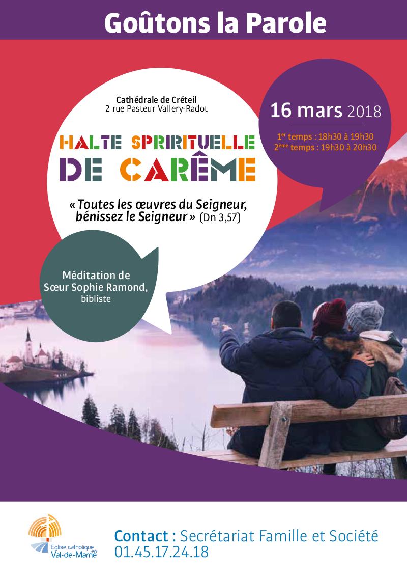 Halte spirituelle de carême le 16 mars 2018 à la cathédrale de Créteil (94)