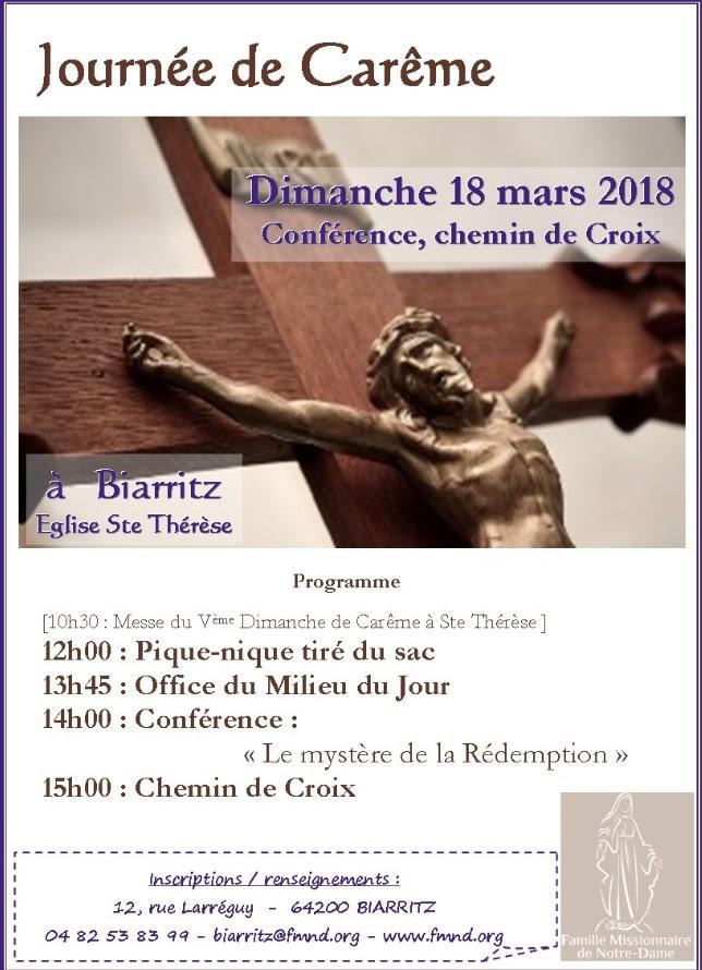 Journée de carême avec la Fraternité Missionnaire de Notre Dame le 18 mars à Biarritz (64)