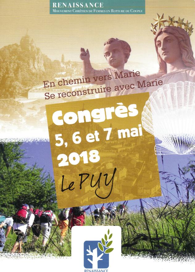Congrès du mouvement Renaissance, pour les femmes séparées ou divorcées au Puy-en-Velay (43) les 5, 6 et 7 mai 2018