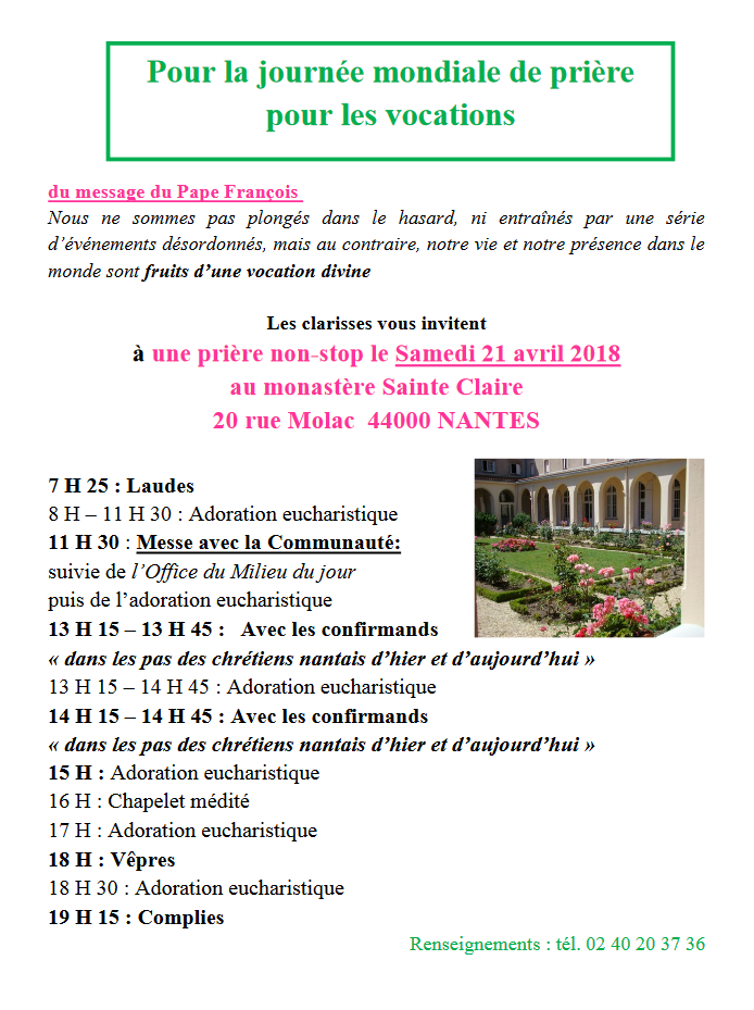 21 avril 2018: Prière non-stop pour les vocations avec les Sœurs Clarisses de Nantes (44)