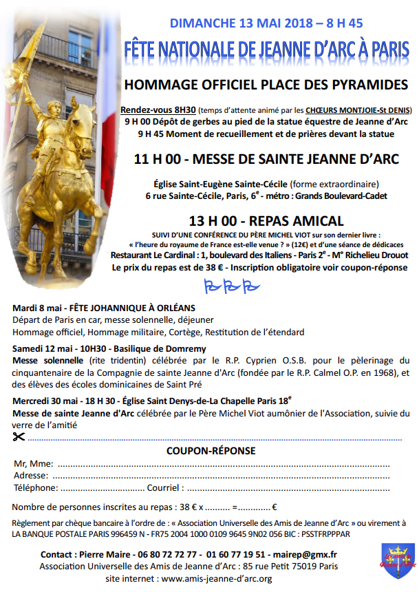 Fête nationale de Jeanne d'Arc à Paris le 13 mai 2018