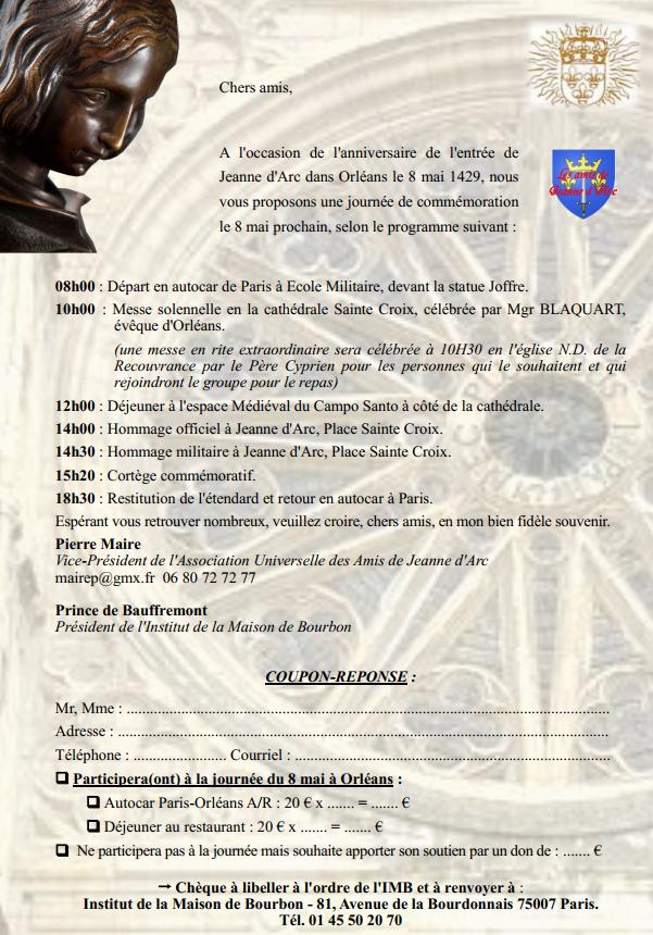 Journée de commémoration de l'entrée de Jeanne d'Arc dans Orléans (45) le 8 mai 2018