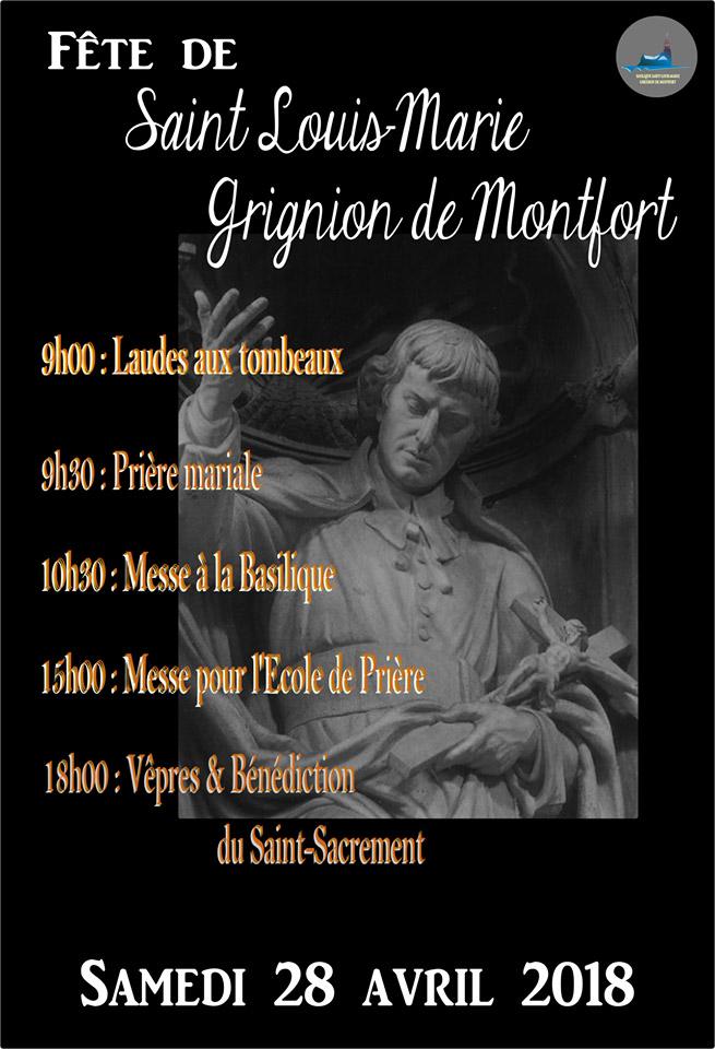 Triduum et Fête de St Louis Marie de Montfort du 25 au 28 avril 2018 à St Laurent-sur-Sèvre (85)