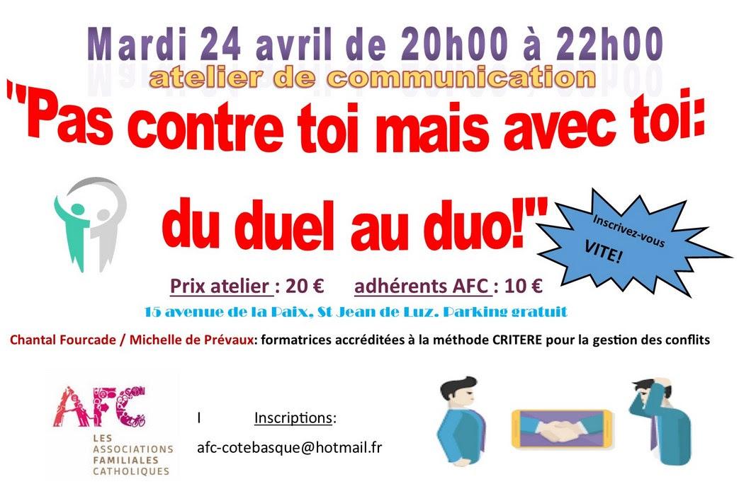 Atelier de gestion des conflits avec les AFC le 24 avril 2018 à Saint-Jean-de-Luz (64)