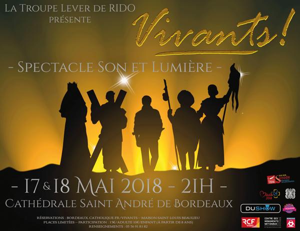 «Vivants» – Spectacle son et lumière à la cathédrale saint-André le 17 et 18 mai 2018  Bordeaux (33)