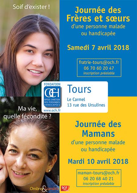 Journée des frères et sœurs le 7 avril et Journée des mamans le 10 avril à Tours (37), organisées par l'OCH – Office chrétien des personnes handicapées