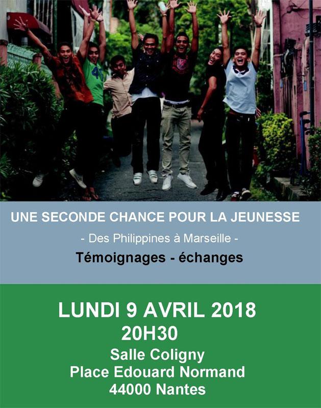 9 avril 2018: Témoignage «Une seconde chance pour la jeunesse – des Philippines à Marseille» à Nantes (44)