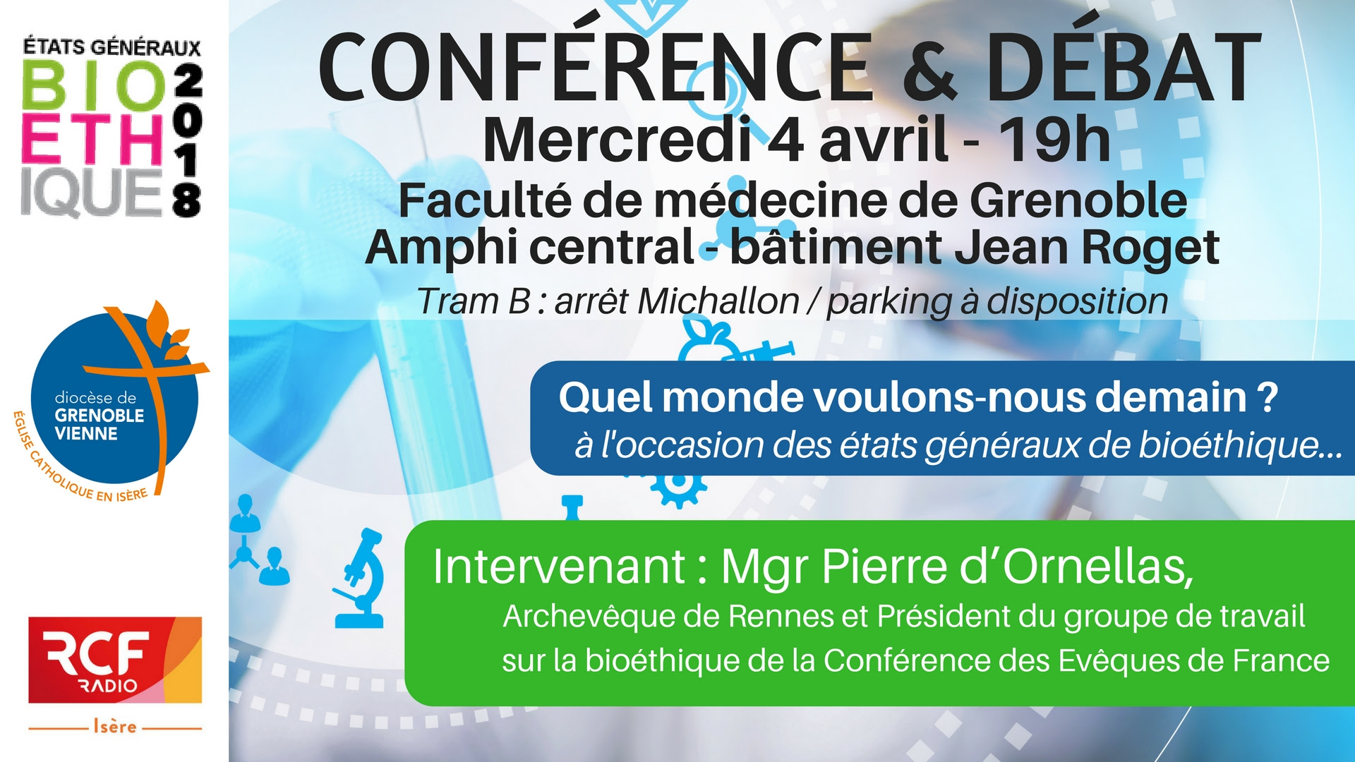 Conférence & débat avec Mgr d'Ornellas – Quel monde voulons-nous pour demain? – Le 4 avril 2018 à Grenoble (38)