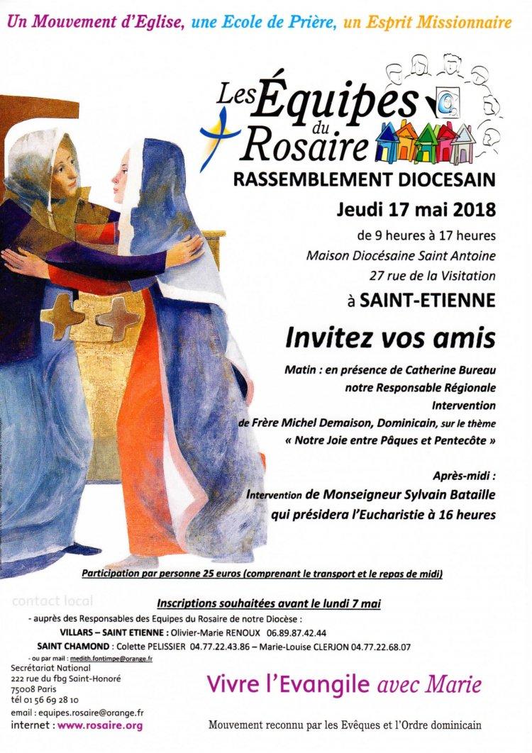 Rassemblement diocésain des Équipes du Rosaire à Saint-Etienne (42) le 17 mai 2018