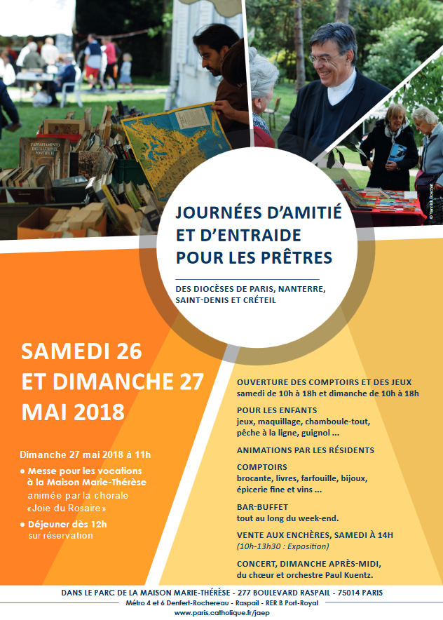 Journées d'amitié et d'entraide pour les prêtres âgés les 26 et 27 mai 2018 à Paris