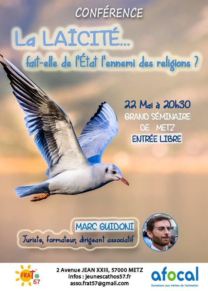 Conférence sur le thème de la laïcité le 22 mai 2018 à Metz (57)