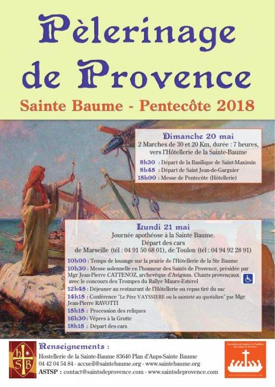 Pèlerinage de Provence à la Sainte-Baume (83) les 20 et 21 mai 2018