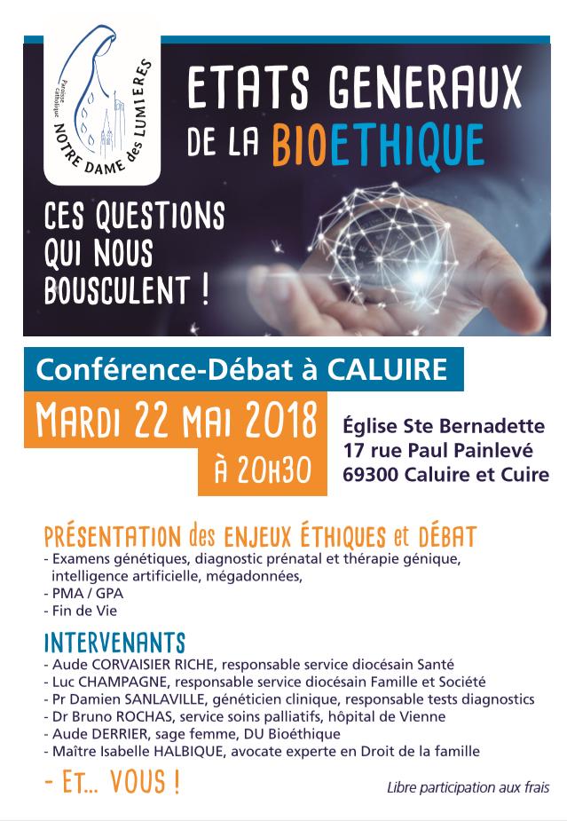 Conférence-débat bioéthique à Caluire (69) le 22 mai 2018