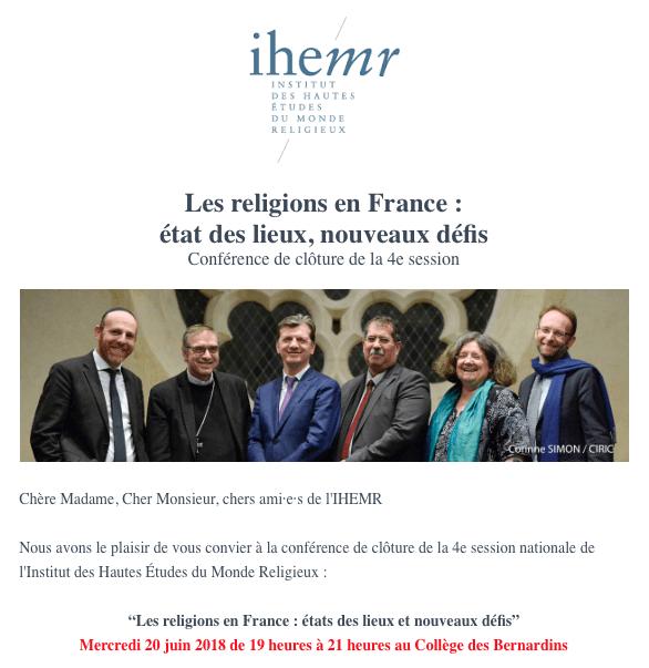 """Conférence de l'IHEMR : """"Les religions en France: état des lieux, nouveaux défis"""" le 20 juin 2018 à Paris"""