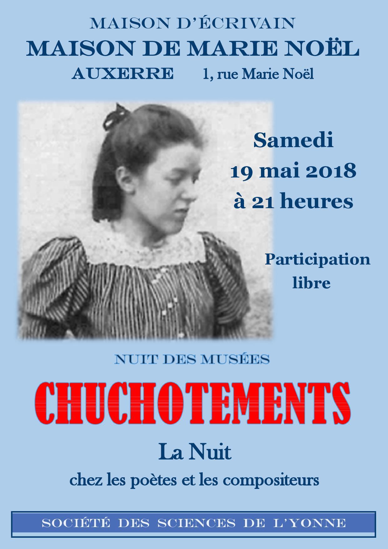 Nuit des musées: dans la maison de Marie Noël à Auxerre (89) le 19 mai 2018