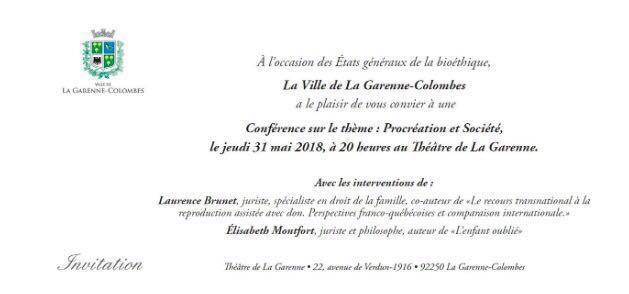 Conférence – Procréation et société – Le 31 mai 2018 à La Garenne-Colombes (92)