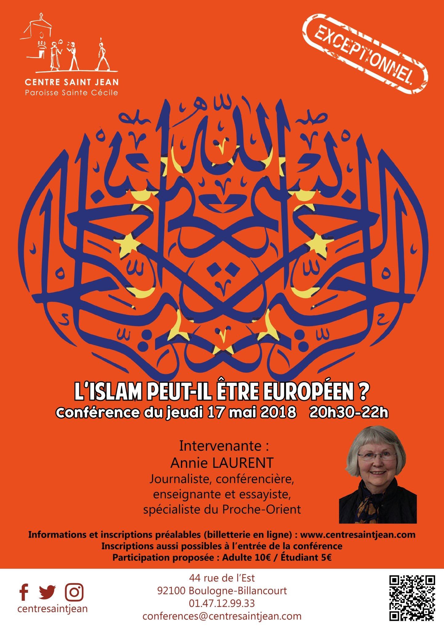 Conférence d'Annie Laurent le 17 mai 2018 à Boulogne (92) – L'Islam peut-il être européen?