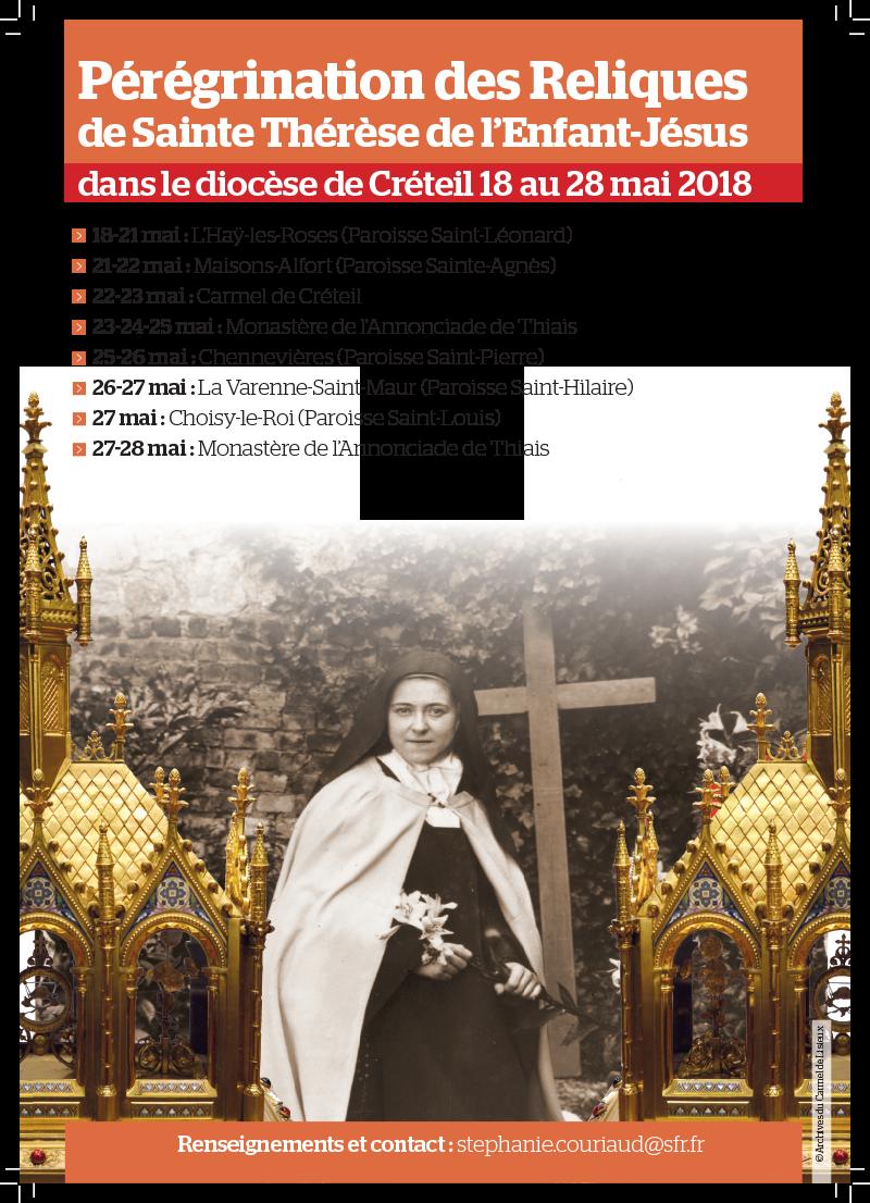 Pérégrination des reliques de sainte Thérèse de l'Enfant Jésus dans le diocèse de Créteil (94) du 18 au 28 mai 2018
