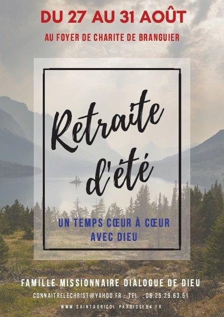 Retraite d'été  au Domaine de Branguier à Peynier (13) du 27 au 31 août 2018