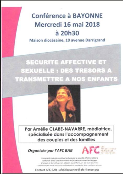 Conférence avec les AFC sur l'éducation affective des jeunes enfants le 16 mai 2018 à Bayonne (64)