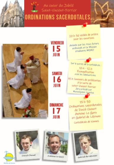 Ordinations sacerdotales le 17 juin 2018 à Vannes (56) et animations les 15 et 16 juin
