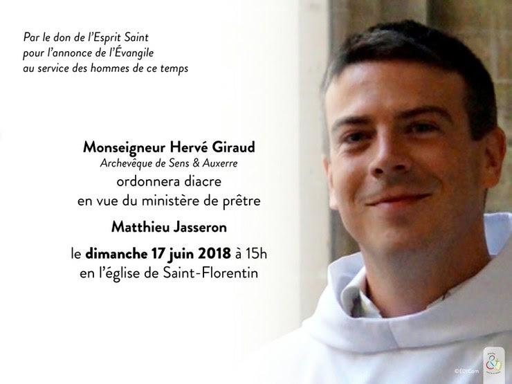 Ordination diaconale en vue du sacerdoce le 17 juin 2018 à Saint-Florentin (89)
